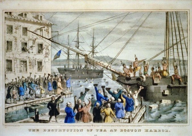 lithograph by Nathaniel Currier titled The Destruction of Tea at Boston Harbor